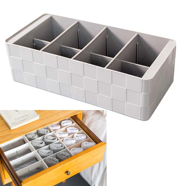 Hoomall 4/5 Grids Plastic Socks Bra Underwear Storage Box Closet Drawer Organizers Conta ...