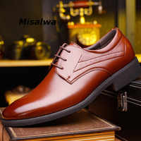 Misalwa Height Increasing Elevator Wedding Shoes Men 2019 Newly Lace up Black Formal Business Leather Men Classic Shoes Dropship