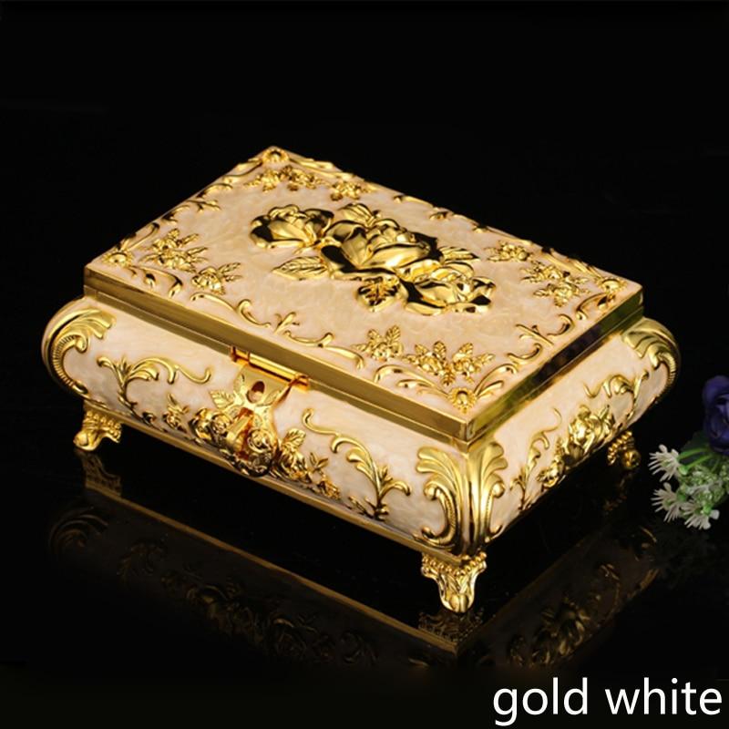 Accents européens plaqué or avec époxy blanc Rose fleur Design pied métal stockage bibelot boîte à bijoux