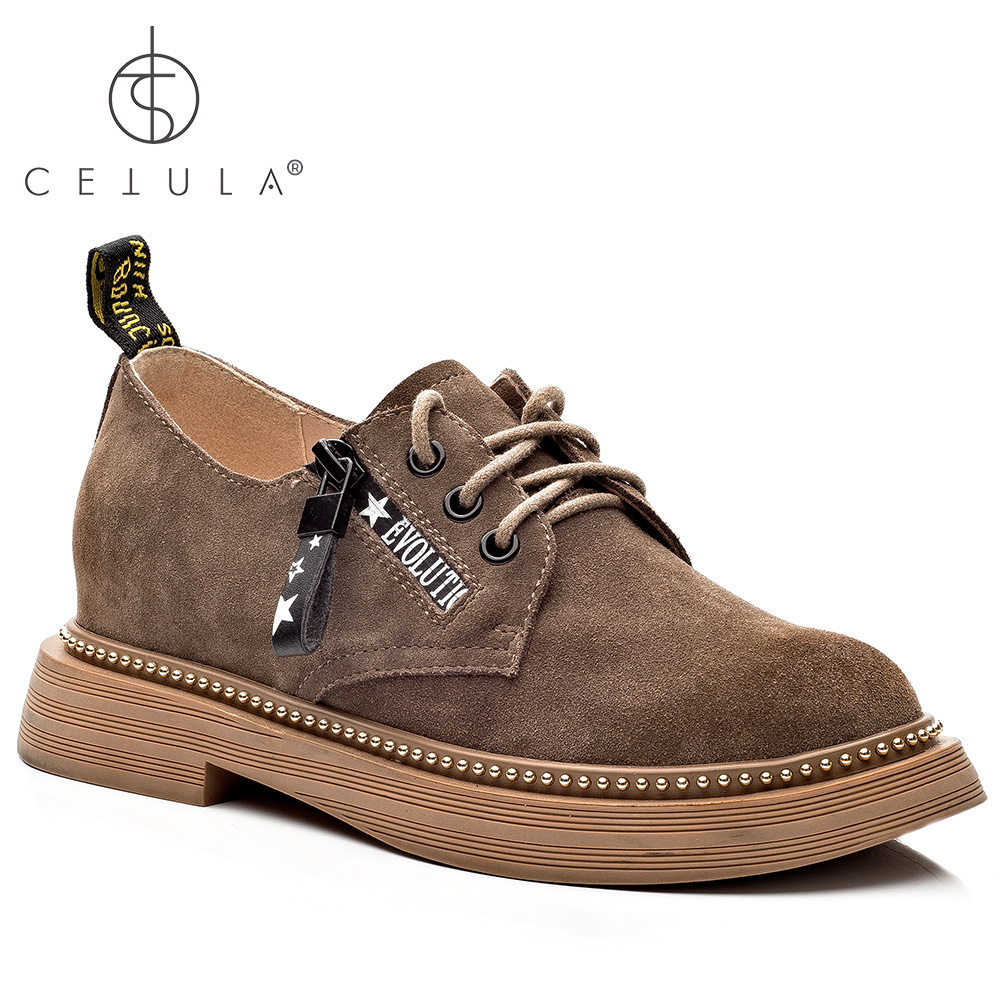 @Cetula 2018 Handcrafted Cow Suede Lace-up &Star Prints Zip Modern Stitching Women Work Shoes ft. Round Toe&Gold Studs Outsole round neck stitching crochet lace vest