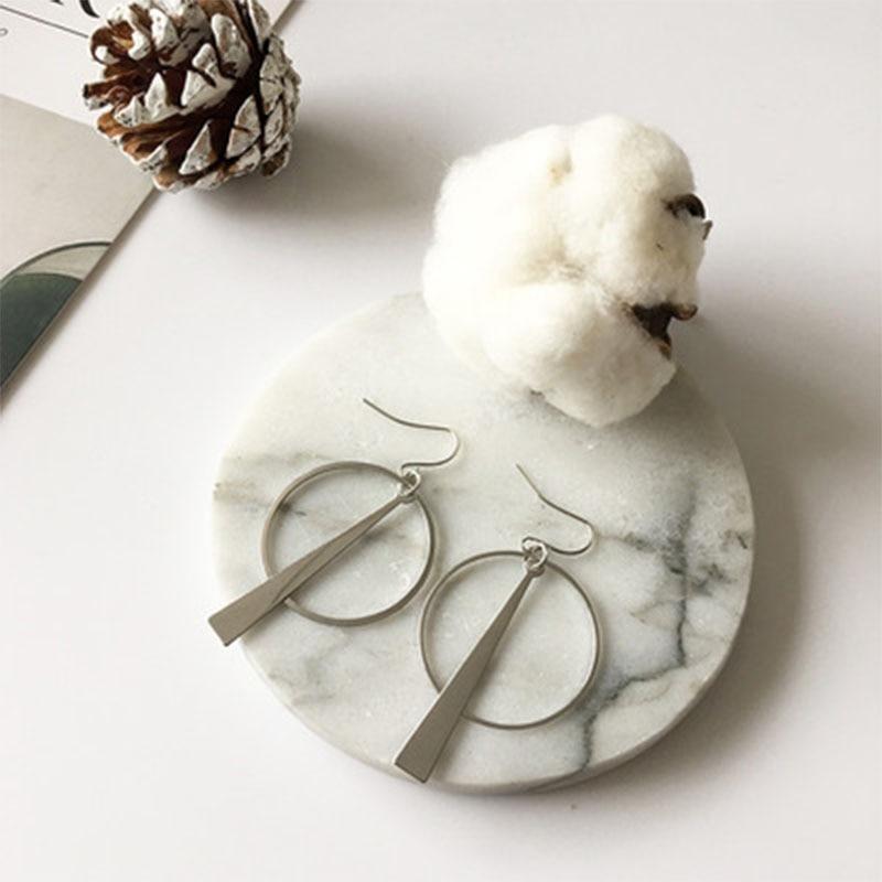 Drop Earring Jewelry Temperament Simple Retro Long Circle Ear Geometric Earrings For Women Female Statement Earrings 2019 WD248 in Drop Earrings from Jewelry Accessories