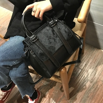 Soft Horse Hair Handbags Fur Women Tote Bags Large Capacity Black Cool Shoulder Bag HIgh quality Messenger  tote bags for women