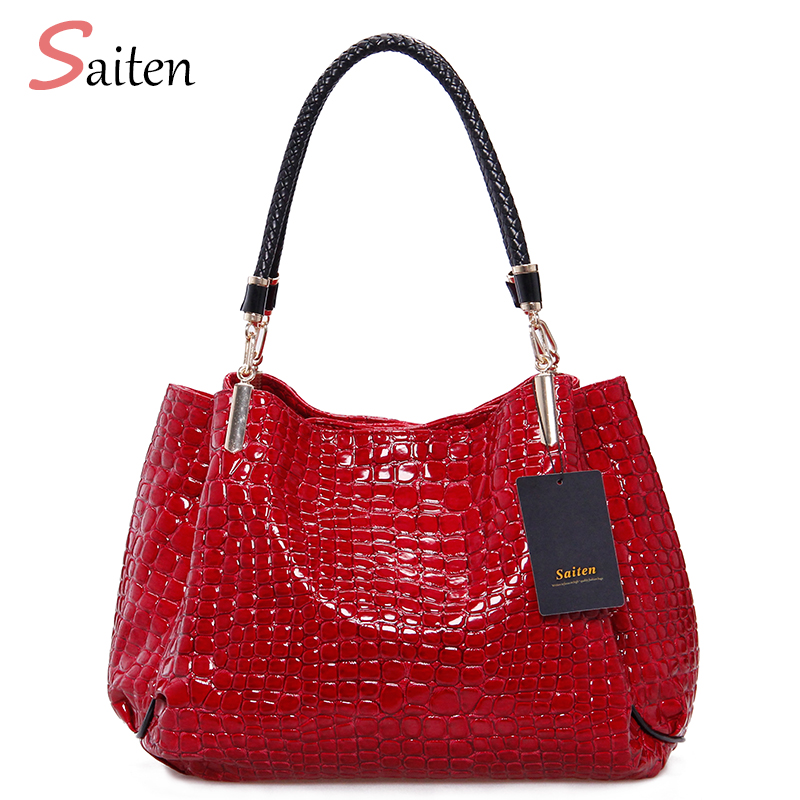 2017 Alligator Leather PU Women Handbag Bolsas De Couro Fashion Famous Brands Shoulder Bag Black Bag Ladies Bolsas Femininas Sac joyir fashion genuine leather women handbag luxury famous brands shoulder bag tote bag ladies bolsas femininas sac a main 2017