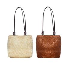 29c4890f06ec Vintage straw Women bag Beach Rattan Woven Handbags Summer Ladies Beads  Travel Straw Shoulder Tote Bag