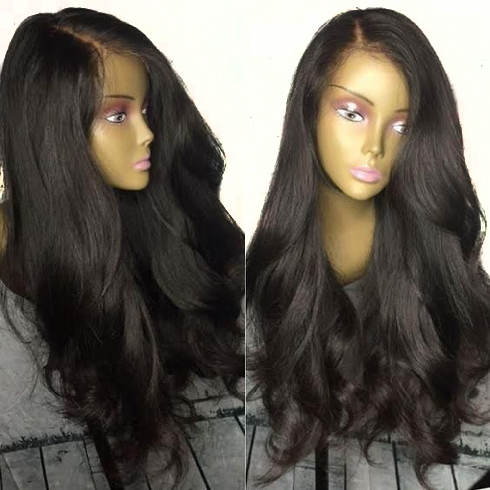 Eversilky 13x6Lace Front Human Hair Wigs With Baby Hair Black Wig Pre Plucked Brazilian Body Wave