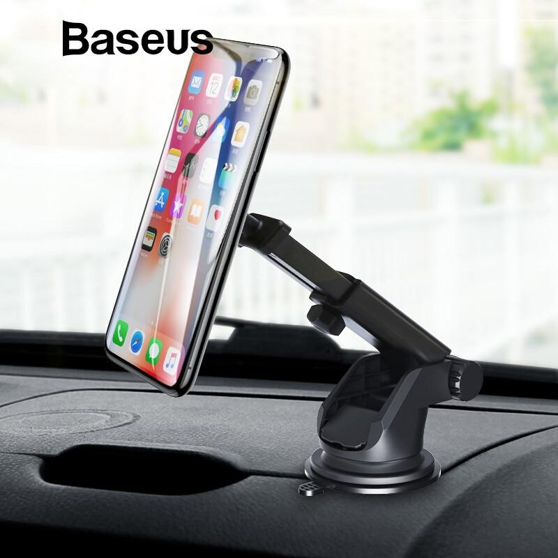 Baseus telescópico magnético teléfono titular del coche para iPhone X XS Sumsung 360 ajustable parabrisas GPS coche teléfono soporte