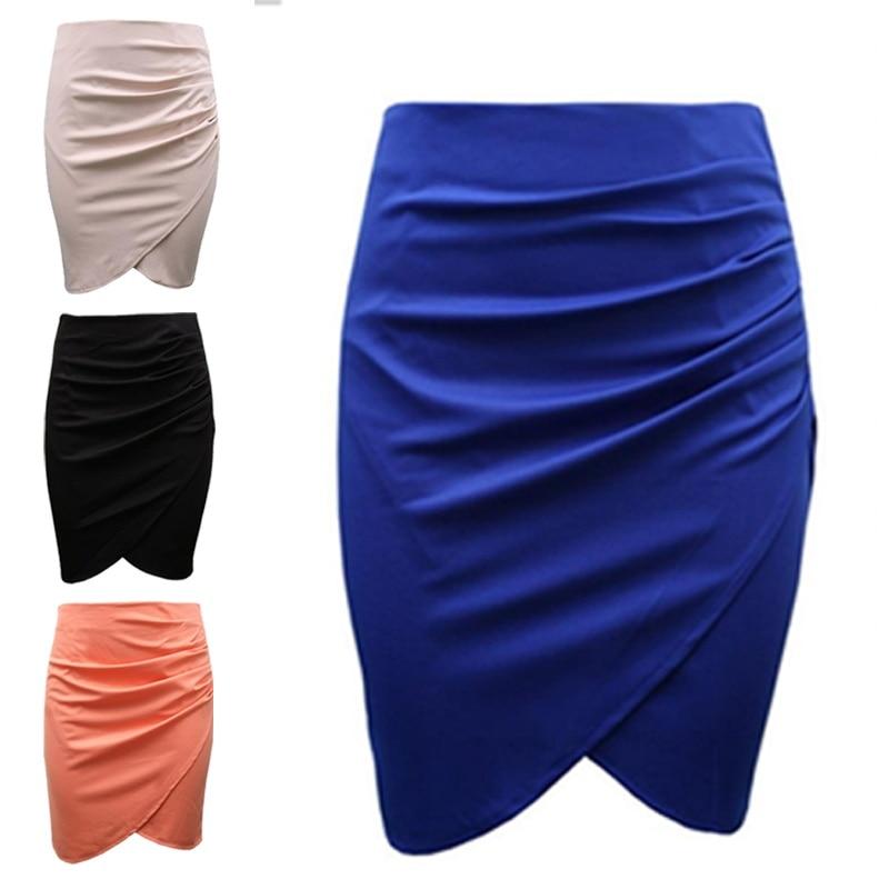 New Split Vintage Mini Bodycon Skirt High Waist Women Pencil Skirt Solid Elegant Lady OL Office Skirts For Female XS-XXL