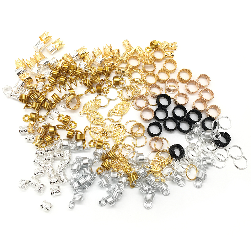 PromoteJewelry-Accessories-Kit Tubes Beads Hair-Cuffs Braids Dreadlocks Silver Metal Gold ╗
