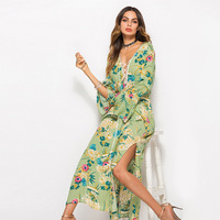 Beach Dresses Woman 2019 Women's Summer Clothes May Beachwear Swimsuit New Flared Long Sleeve Printed Forked Women Acetate Print