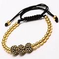 Anil arjandas homens pulseiras banhado a ouro beads & 10mm micro pave cz beads macrame briading preta pulseira pulseira feminina