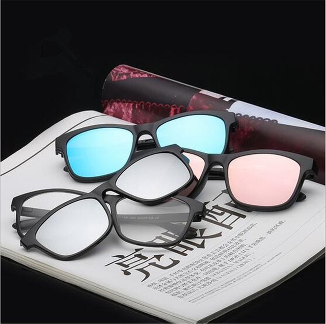 e291a06135 Magnetic Clip on Polarized Sunglasses Shade Opical Glasses Frame Prescription  Eyeglasses Spectacles 2 In 1 Luxury
