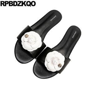 Slippers Flat High Quality Ladies Luxury Shoes Women Designer Soft 2018 Open Toe Big Size Black And White Sandals Slides Flower Low Heels     -