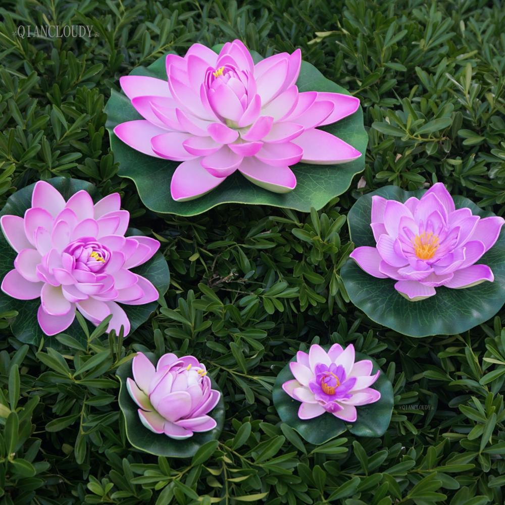 Aliexpress buy artificial light purple lotus leaves fake ponds aliexpress buy artificial light purple lotus leaves fake ponds flowers water lily floating swimming pool home garden plants wedding d24 from reliable izmirmasajfo
