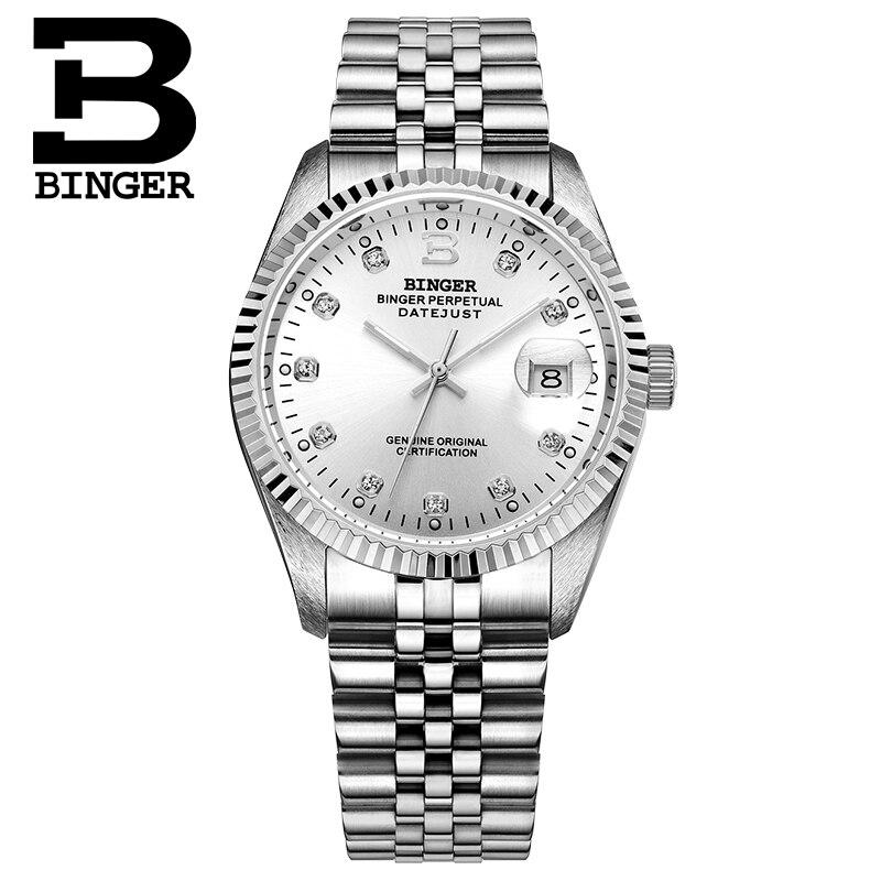 Suisse BINGER montre hommes femmes automatique mécanique hommes montres de luxe marque saphir reloj hombre montre bracelet-in Montres couple from Montres    2
