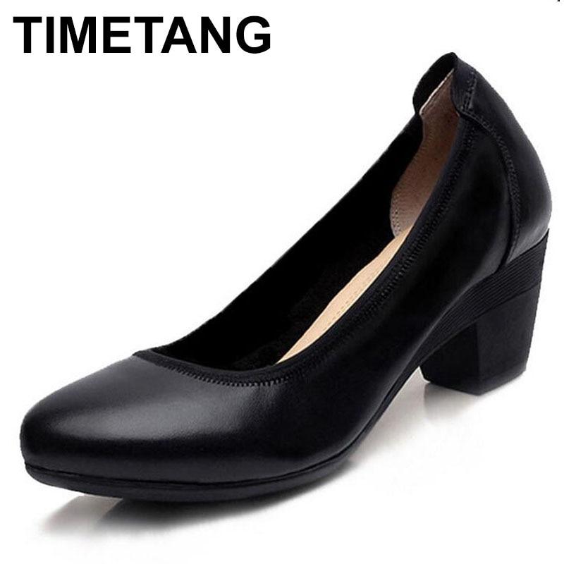 TIMETANG Super Soft & Flexible Pumps Shoes Women OL Pumps Spring Mid Heels Offical Comfortable Shoes Size 34-43 C330