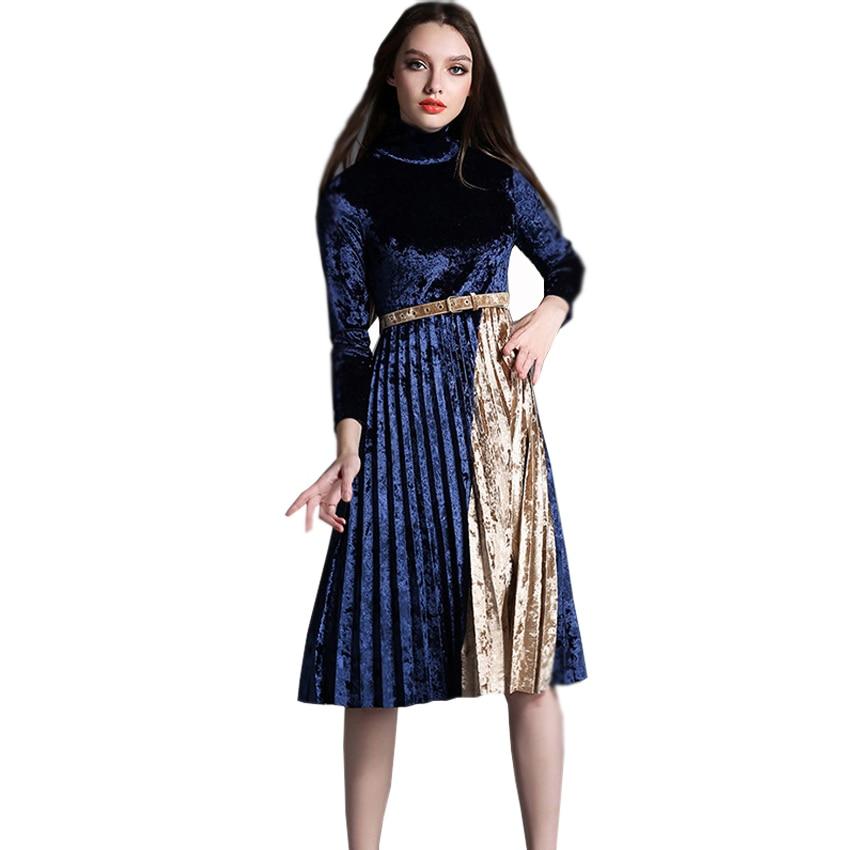 Long Sleeve Velvet Dresses for Women