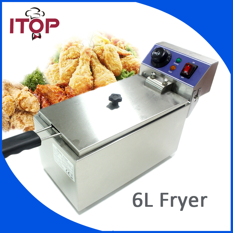 ITOP 6L electric small home household healthy fish chicken potato french fries deep oil fat fryer machine 220V home healthy non stick electric deep fryer smokeless electric air fryer french fries machine for home using af 100 1pc