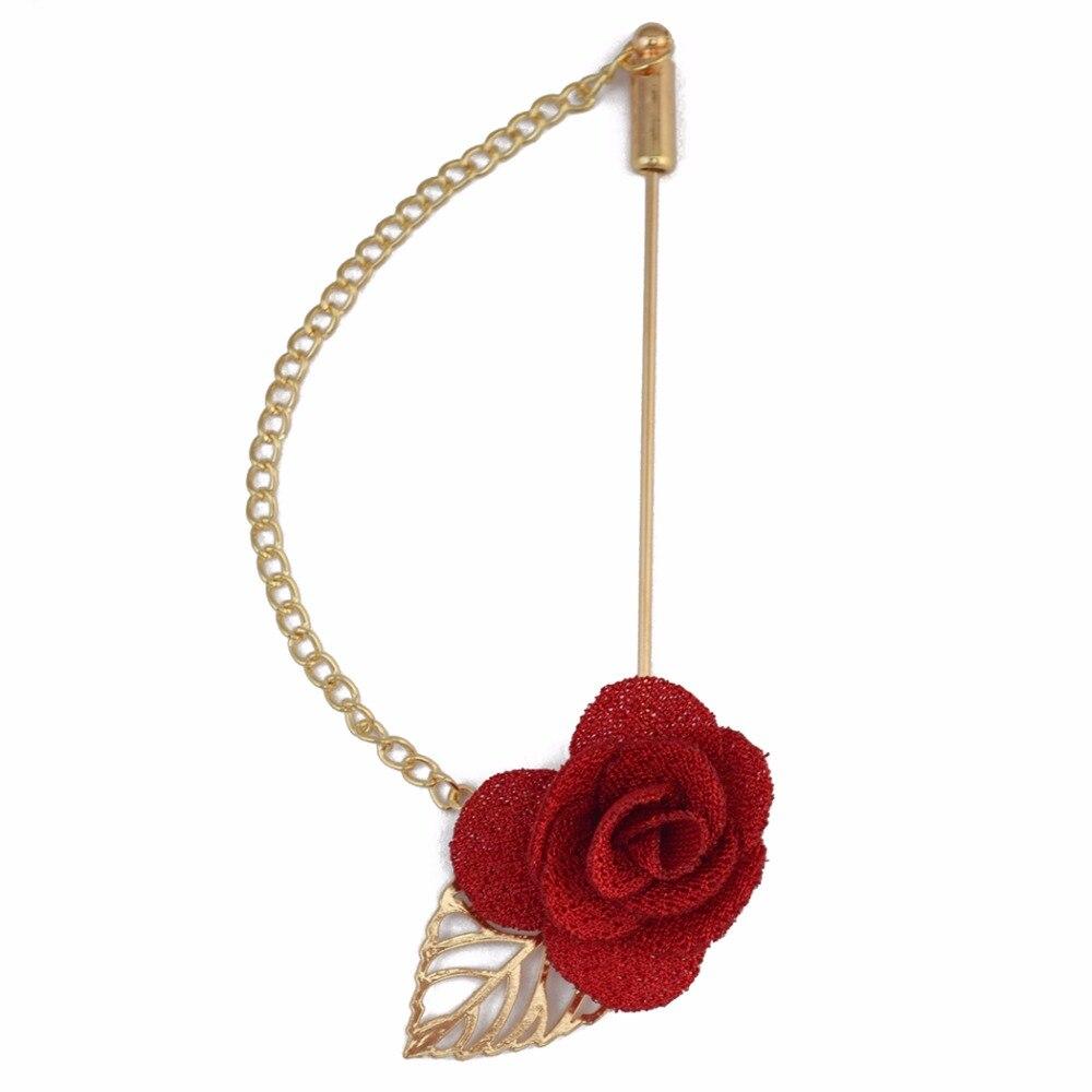 3 Warna Kain Bunga Mawar Emas Daun Bros Korsase pria Jas Fashion Aksesoris  Bros Pin Dengan 4050bdef73