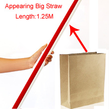 Appearing Big Straw From Empty Bag Hat Sucker 125cm Stage Magic Tricks Close Up Magic Tricks