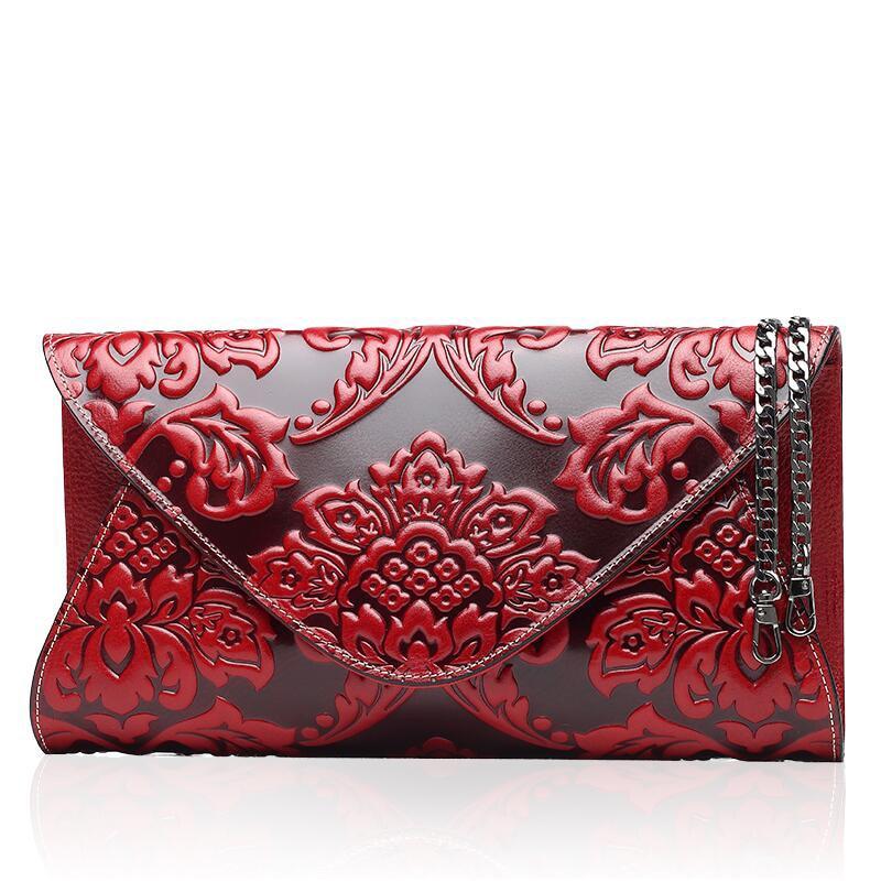 Famous brand top quality Cow Leather women bag Original Vintage Clutch Wallet Fashion embossed purse Fashion chain bag все цены
