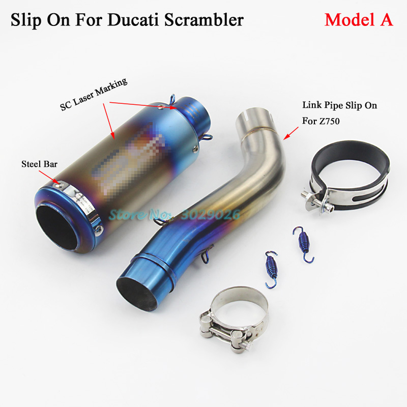 Blue Exhaust Set Slip On For Ducati Scrambler Motorcycle Modified Escape Muffler with Middle Link Pipe Tupe Laser Marking free shipping carbon fiber id 61mm motorcycle exhaust pipe with laser marking exhaust for large displacement motorcycle muffler
