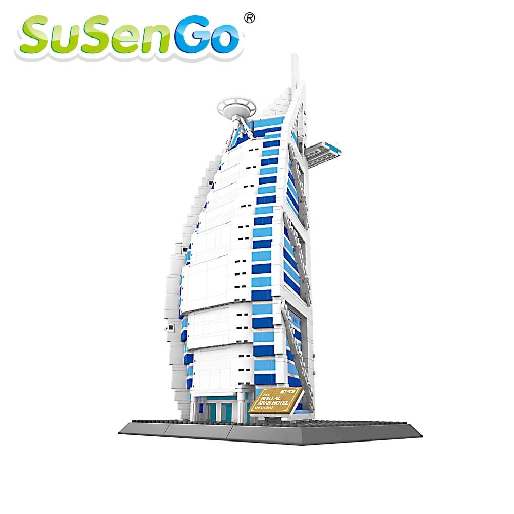 ФОТО 1307Pcs Dubai Arab Hotel Structure Building Blocks Educational Building Block Toys Gift