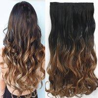"""неверлэнд 24 """"60 см волнистые 5 зажимы одна деталь натуральный коричневый два тона ломбер синтетические парики зажим в волос для женщин"""