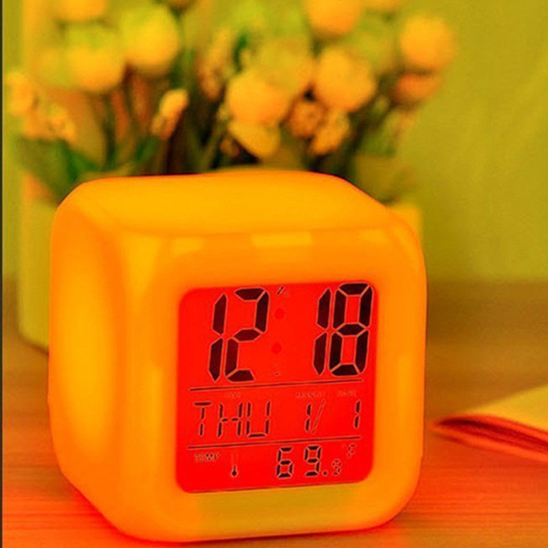 Image 5 - Colorful Changing Digital LED Alarm Clock No Batter Bathroom Home Night Glowing Cube Led Clock USB Charge DropShipping TSLM1-in Alarm Clocks from Home & Garden