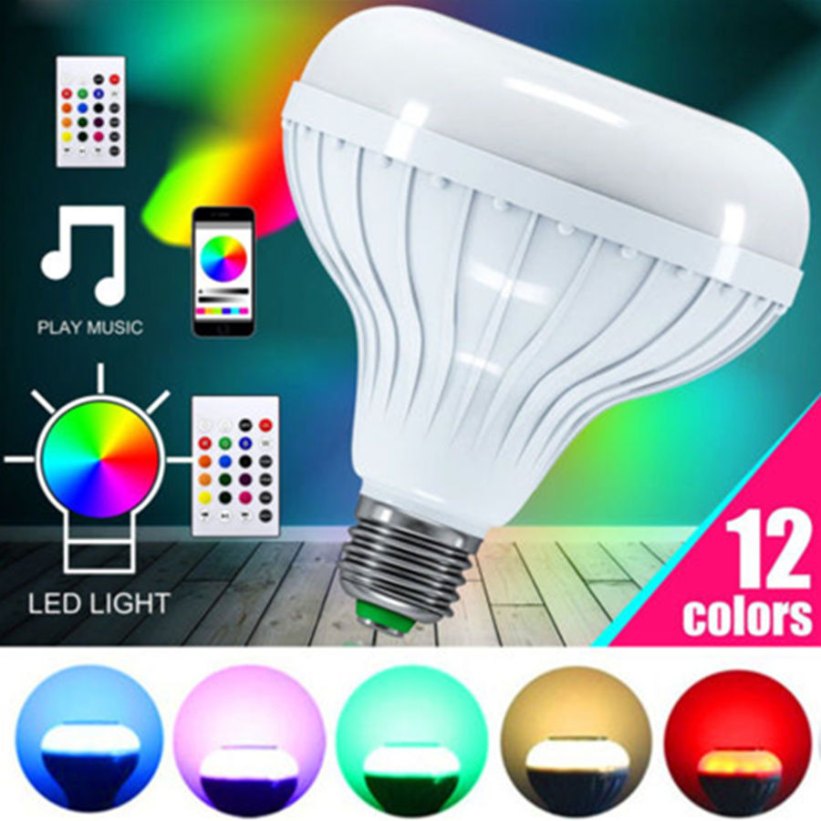 Wireless Bluetooth Music Audio Speaker Lamp12W E27 RGB LED Bulb Light Led Lamp Music Playing With 24 Keys Rmote