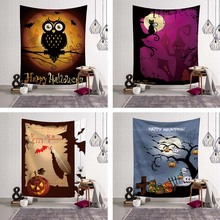 Happy Haunting Halloween Wall Decoration Door Ornament Hanging Tapestry Haunted House Psychedelic Party Decor Blanket