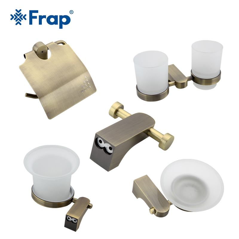 Frap Antique Bronze Bath Accessories Paper Holder Cup Holder Toilet Brush Soap Dishes Space Aluminium 5 Pieces F14T5 free shipping ba9105 bathroom accessories brass black bronze toilet paper holder