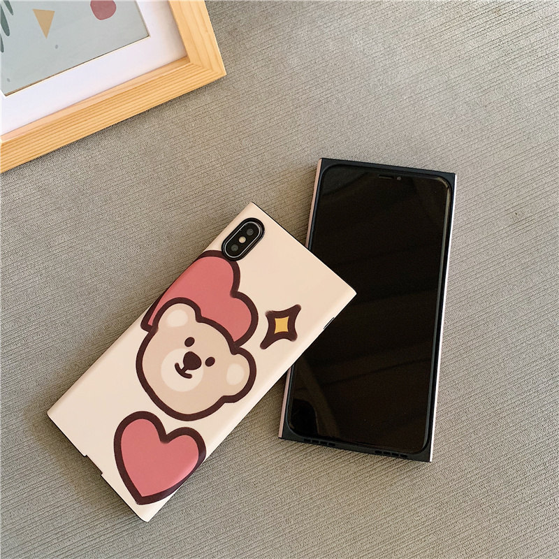 Love heart bear women scrub silicone soft case for iPhone xs xr x xsmax 8 7 6 6s plus cartoon pink rabbit cover for iPhone cases in Fitted Cases from Cellphones Telecommunications