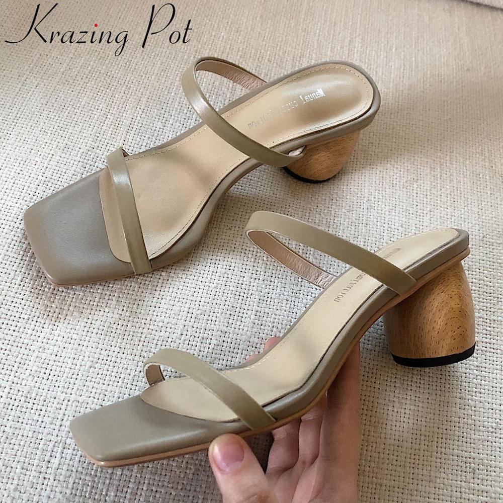 Krazing Pot natural leather slip on wood high heels women sandals peep square toe superstars high