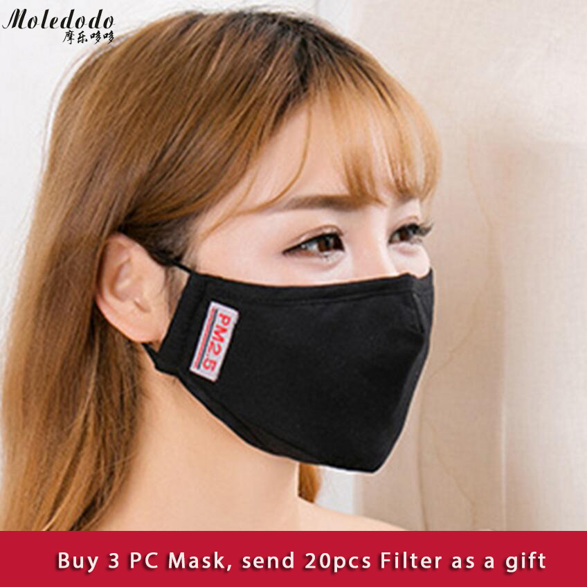 Moledodo 3PCS/LOT New Cotton Adult mouth mask PM2.5 dust mask Anti-fumes face Mask send 5pcs filter on the mouth D10