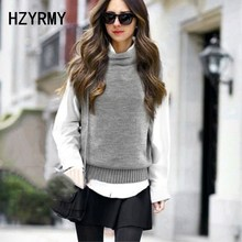 HZYRMY Spring Autumn New Women's Cashmere Vest Pure Color High-neck Fashion Soft Sleeveless Loose Wild Wool Knit pullovers vest black high neck knit vest