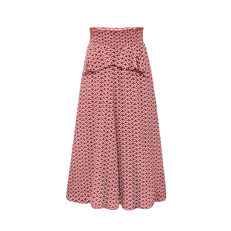 2017 spring summer new romantic Plaid red with printed small white flowers ladies skirt Maxi A word skirt large size free ship