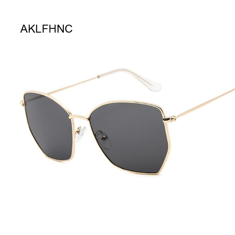 Polygon Clear Square Sunglasses Women Fashion Brand Design Lady Vintage Metal Oversized Frame Plain Sun Glasses Female UV400