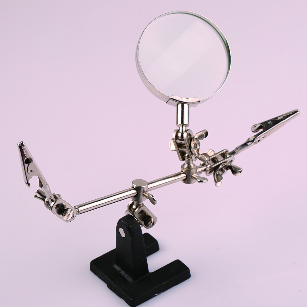 Third Hand Desktop Magnifier Helping Hand Auxiliary Clamp Alligator Clip Stand 5X Magnifying Glass Soldering Stand hand soldering iron stand helping clamp magnifying tool auxiliary clip magnifier station holder