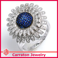 Genuine 925 Sterling Silver Jewelry CZ Diamond Jewelry Marvelous Geunine 925 Silver Sunflower Ring