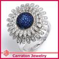 Genuine 925 Sterling Silver Jewelry CZ Diamond Jewelry Marvelous Geunine 925 Silver Sunflower Ring