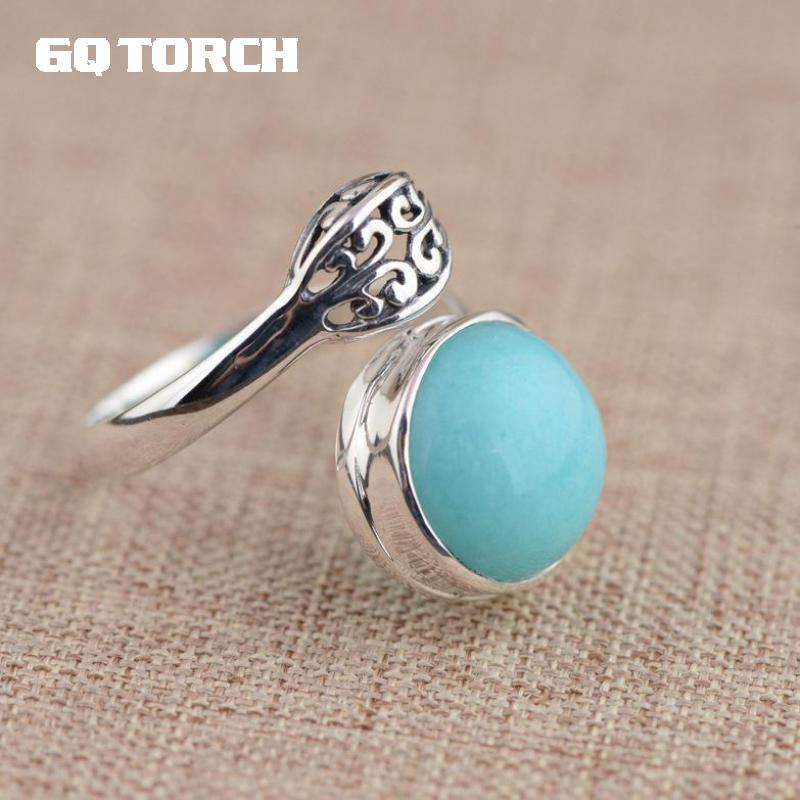 GQTORCH Sky Blue Natural Gemstone Amazonite Rings For Women 925 Sterling Silver Jewelry Opening Vintage Type Anelli Argento gqtorch natural purple amethyst rings for women 925 sterling silver jewelry vintage thai silver flower engraved anelli argento