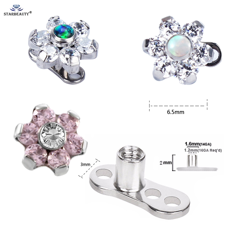 1Pc G23 Titanium & Opal Gem Micro Dermal Anchor Pearing Top Skin - Модні прикраси