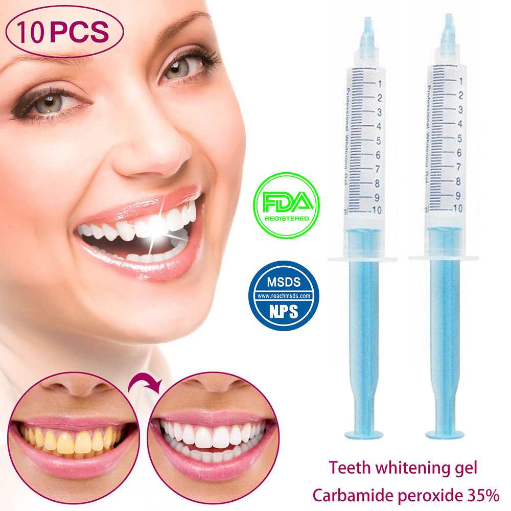 Pro Grade Teeth Whitening Gel - Safe And Gentle, 35% Carbamide Peroxide, Painless, No Sensitivity,Natural Mint Flavor 10pcs/lot