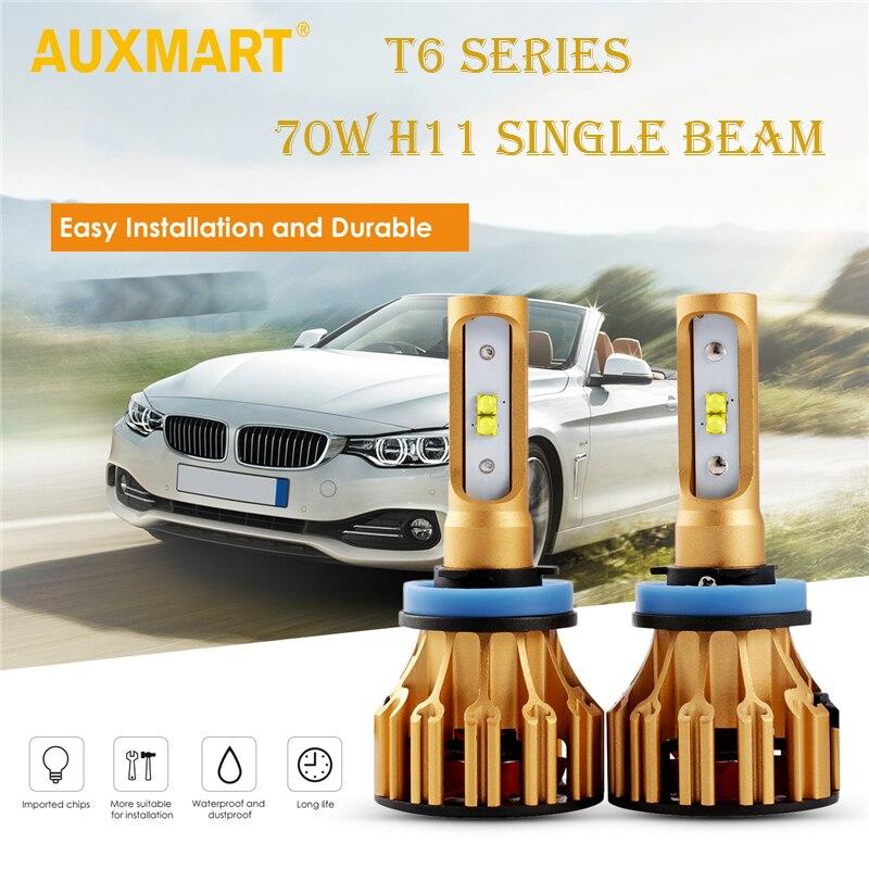 Auxmart T6 фар автомобиля H11 SMD чипов авто светодиодный налобный фонарь один луч 70 Вт 8000lm светодиодный фар Blubs туман свет 12 В 24 В
