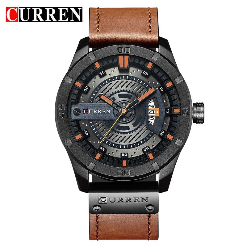 CURREN 8301 Топ Марка Роскошные часы Мужчины отображения даты Кожаный Творческий кварцевые наручные часы Relógio masculino
