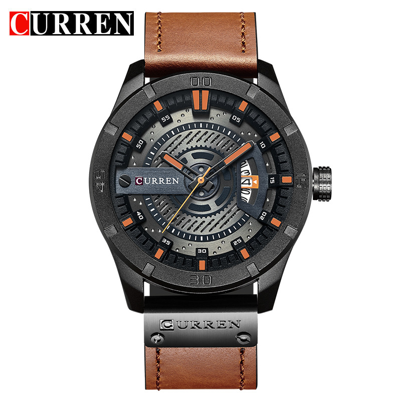 Date Display Leather Quartz Wrist Watches