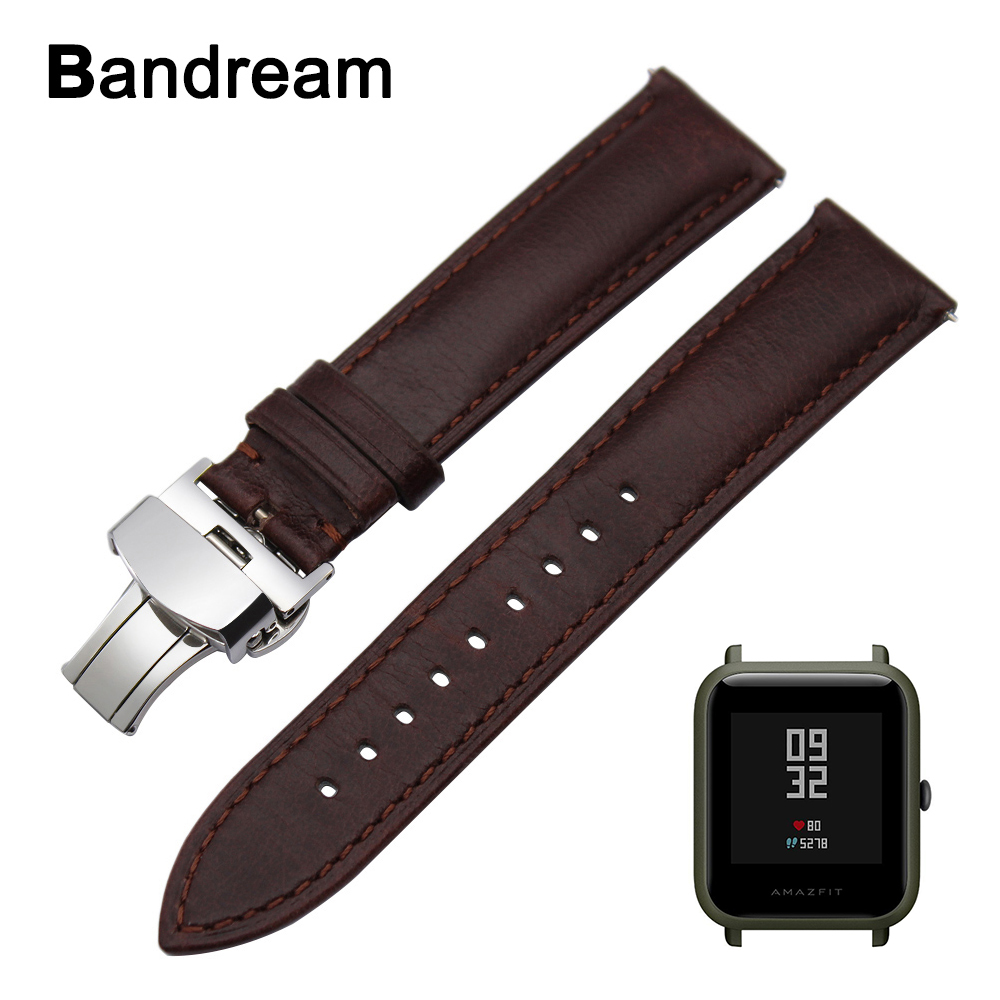 Genuine Calf Leather Watchband for Xiaomi Huami Amazfit Bip BIT PACE Lite Youth Quick Release Watch Band Steel Clasp Wrist Strap genuine leather watchband for suunto 3 fitness smart watch band quick release strap stainless steel clasp wrist bracelet