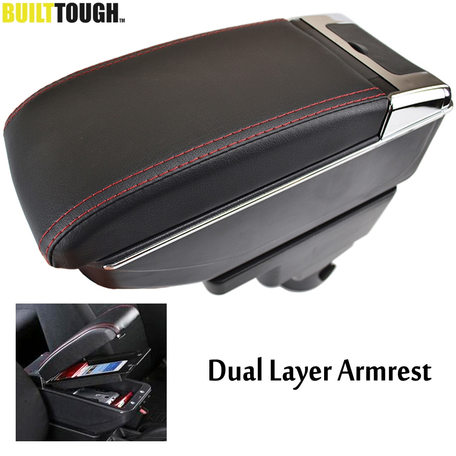 Dual Layer Leather Armrest For Chevrolet Sonic Aveo Holden Barina 2012 2018 Center Console Arm Rest