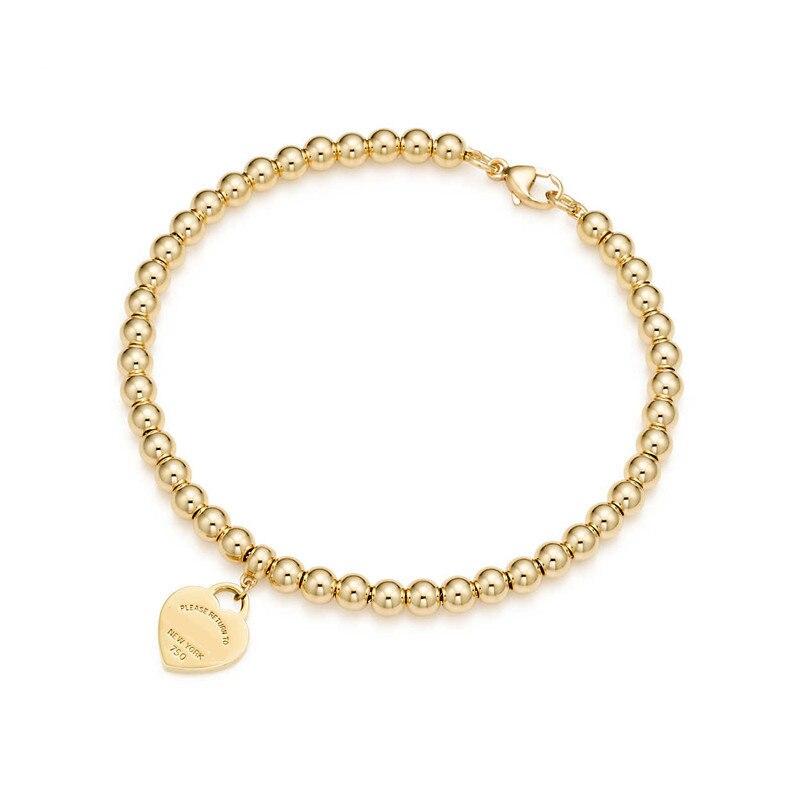 100% 925 Sterling Silver Genuine Original Charm Heart Bead Bracelet Original Female Jewelry Personality Gift logo pendants (4)