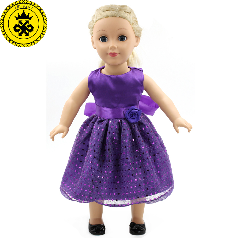 Dolls Accessories Purple Bow Dress American Girl Doll Clothes Fits American Girl 18 Dolls Girl MG-015 american girl doll clothes halloween witch dress cosplay costume for 16 18 inches doll alexander dress doll accessories x 68